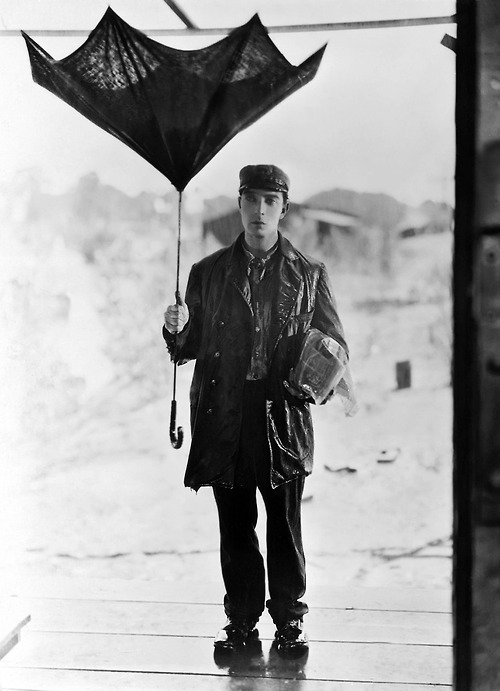 1920s, buster keaton, silent film, silent star, steamboat bill jr, umbrella, vintage
