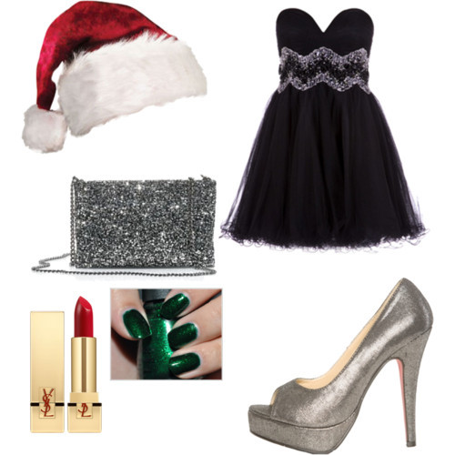 2709, chrismas, clothes, dress, fashion, heels, lipstick, nailpolish, outfit, polyvore
