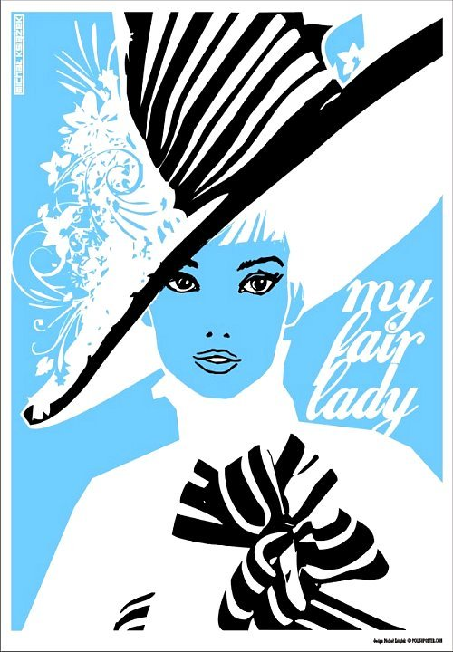 actress, audrey hepburn, blue, draw, hat, hepburn, michal ksiazek, movie, movie poster, my fair lady, polish poster, woman