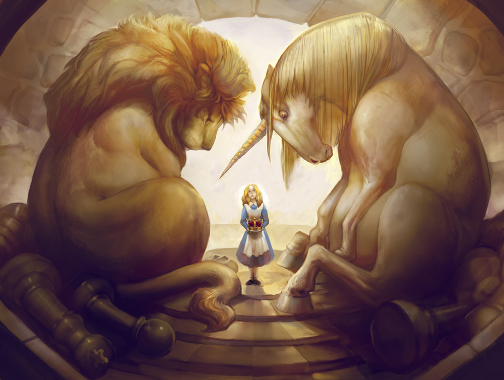 alice, alice in wonderland, digital art, lion, unicorn