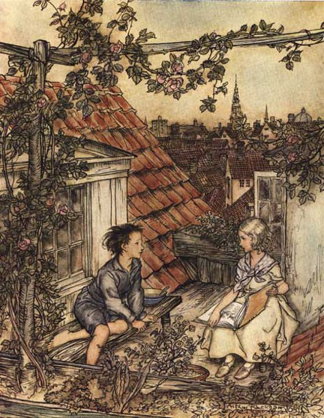 art, arthur rackham, drawing, hans christian andersen, illustration, kay and gerda, the snow queen