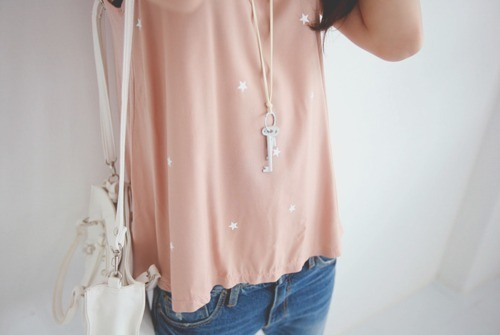 baby pink, blue, fashion, jeans, key