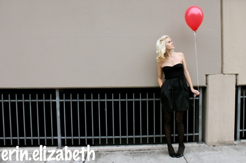 balloon, black, blonde, city, dress