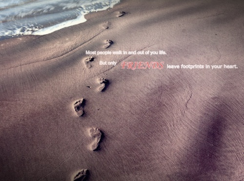 beach, foot prints, friends, nature, quote