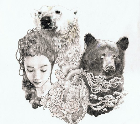 bear, flower, girl, heart, illustration