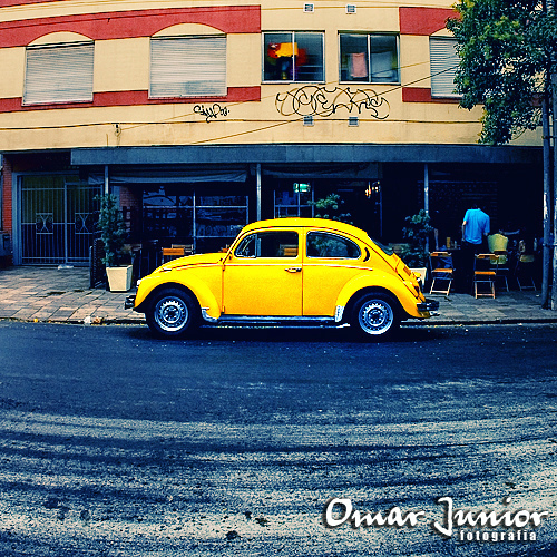 beetle, car, restaurant, street, yellow
