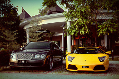 bentley, black, cars, ferrari, lamborghini, yellow