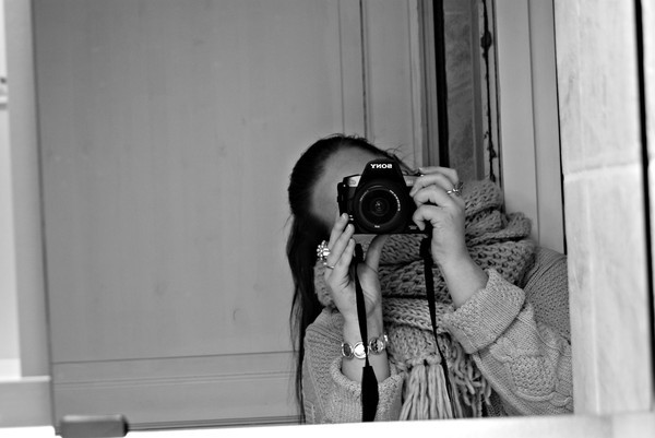 black white, camera, girl, greyscale, mirror, ring, scarf, sony, sweater
