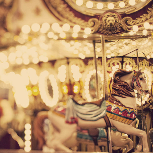 carousel, horse, lights