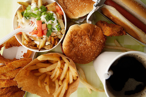chips, coke, hamburger, junk food, salad