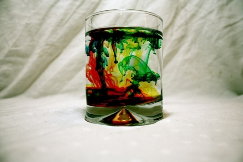 colorful, glass, paint, water