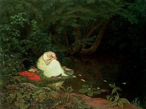 dark, forest, girl, gloomy, lady, painting, pond, sad, trees, woods