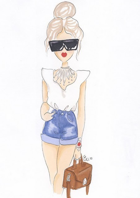 drawing, fashion, girl, shorts, sketch, sunglasses