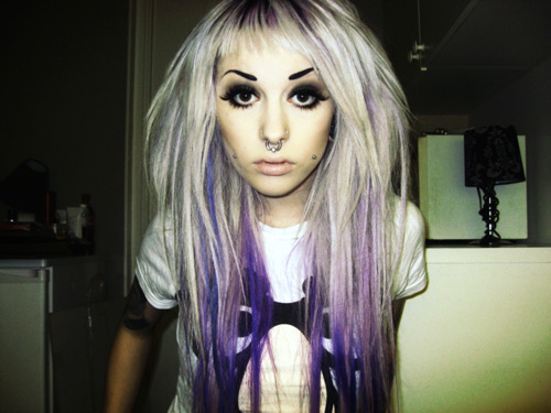 eyes, hair, purple, purple hair, scene