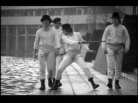 a clockwork orange, attack, cane, hats, hit