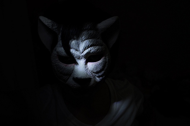 animal, away, bizarre, craft, girl, hunt, lonely, mask, night, shadow