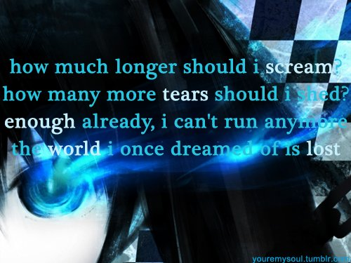 anime black rock shooter lyrics quote song image