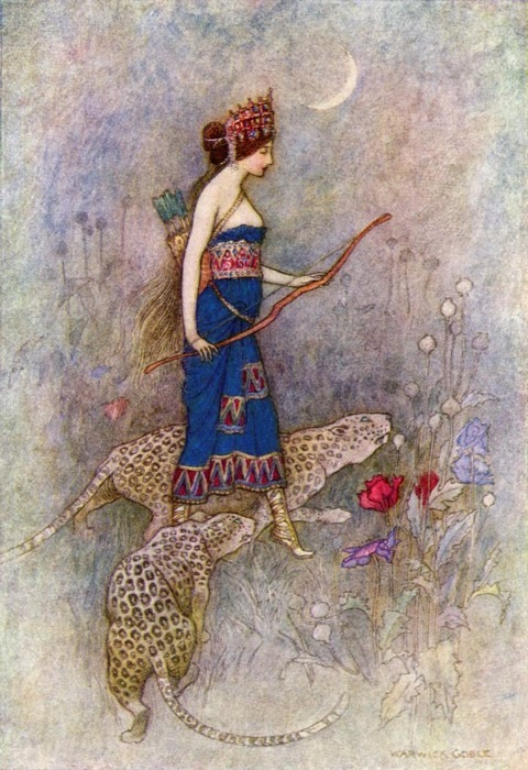 antique, art, bow and arrow, fairy tale, illustration