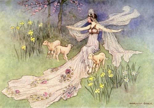 antique, art, fairy tale, flowers, girl, illustration, lamb, pretty, trees, vintage, warwick goble, woman