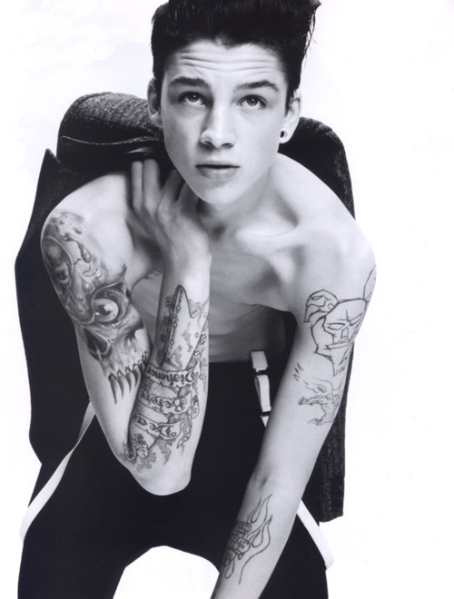 ash stymest, beautiful, black & white, body, boy, cute, eyes, face, fashion, gorgeous, model, nose, perfect, stunning, tattoo