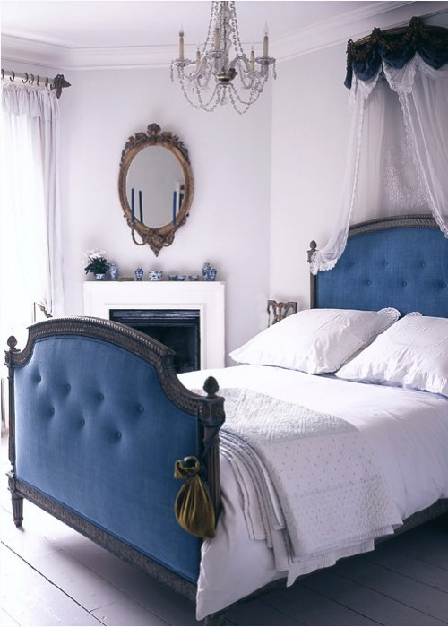 bed, bedroom, blue, chandelier, clean