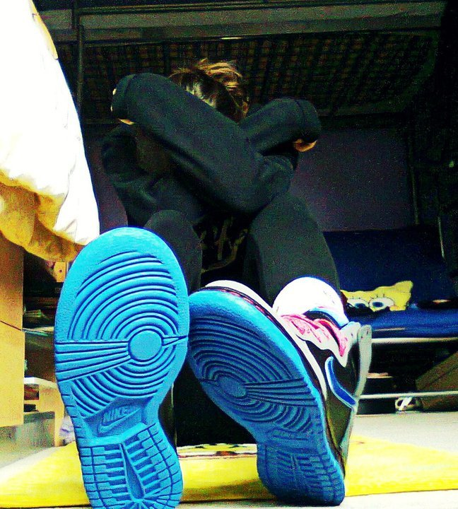 bedroom, black, blue, dunks, girl