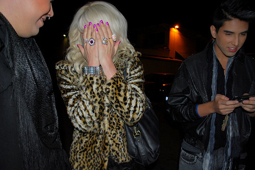 blonde, bracelet, cheetah, curls, fur, girl, girly, nails, pretty, rings, studs, white hair