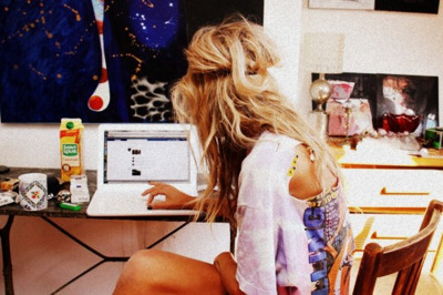 blonde, computer, drink, food, girl
