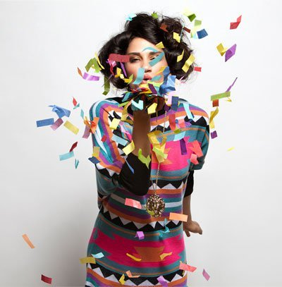 bright, color, colorful, confetti, dress, girl, print