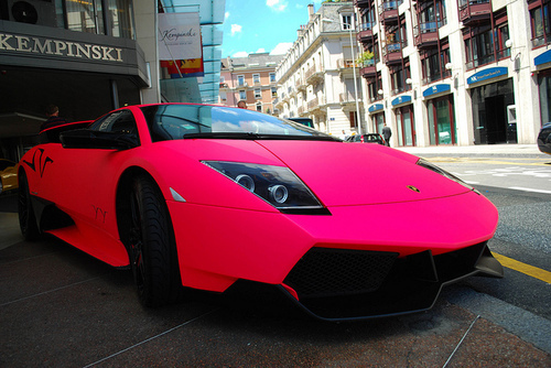 car, city, lamborghini, pink
