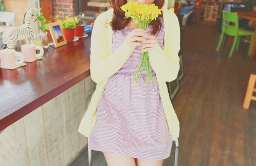 cardigan, cute, dress, fashion, floral, flowers, photography, plaid, pretty, yellow