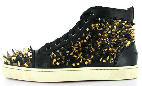 christian louboutin, fashion, gold, sneakers, spikes, studs