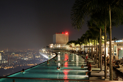 city, night, palms, pool