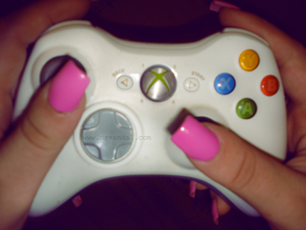 controller, nails, pink, xbox, xbox 360