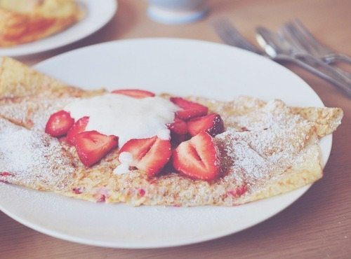 cream, crepe, dessert, food, pancake, photography, strawberries, strawberry, yum