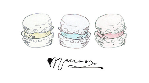 cute, drawing, macarons, pretty, vintage