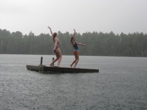dance, dancing, dock, lake, mary, raft, rain, samantha, water