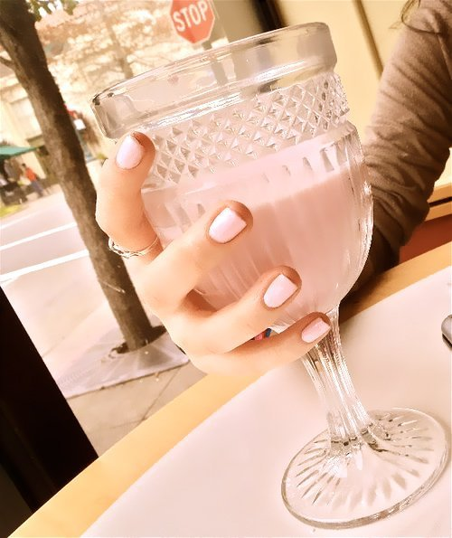 date, dinner, milk, nails, pink, pretty