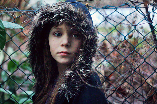 fence, fuzzy coats, girl, winter