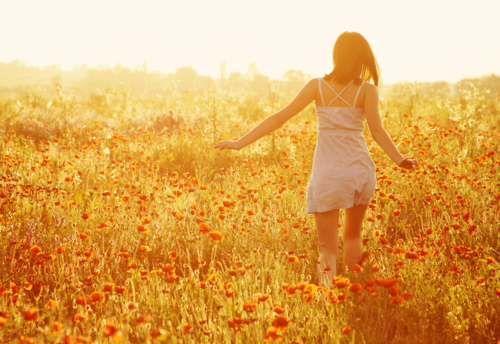field, girl, nature, run, sun
