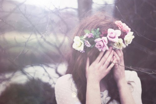 flowers, girl, hands, head band