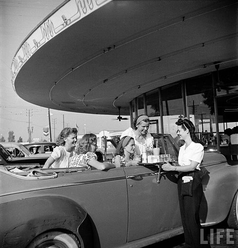 1950s, 50s, black and white, classic, diner