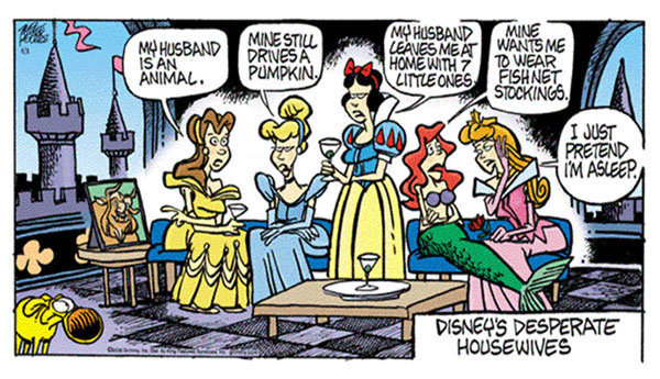 ariel, belle, cinderella, comic, desperate