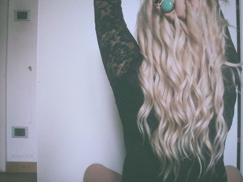 back, black, blonde, curls, fashion, girl, hair, lace, rings, style