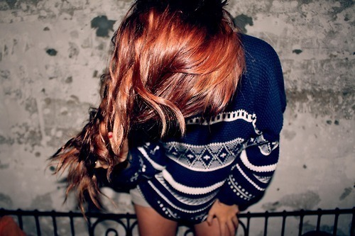 badass, blue, blue jersey, brown hair, fashion, girl, hair, hair color, hair colour, hipster, indie, jersey, jumper, knitted jersey, knitted sweater, knitwear, photography, red hair, redhead, retro, stripes, style, sweater, vintage