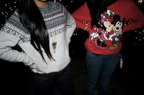 badass, bokeh, bokeh lights, cartoon characters, denim, disney, disney characters, fashion, girls, hipsters, indie, jersey, jumper, knitted jersey, knitted sweater, knitwear, lights, long hair, mickey and minnie, mickey and minnie mouse, mickey mouse
