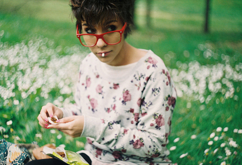 badass, bokeh, cigarette, color, colour, daisies, fashion, floral, floral sweater, focus, girl, glasses, grass, hipster glasses, indie glasses, jersey, jumper, knitted jersey, knitted sweater, knitwear, model, nature, nerd glasses, photography