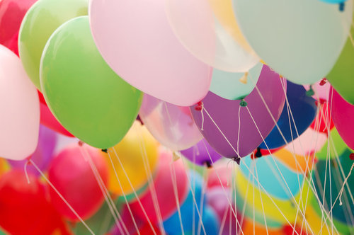 balloons, blue, colorful, fun, green, pink, red