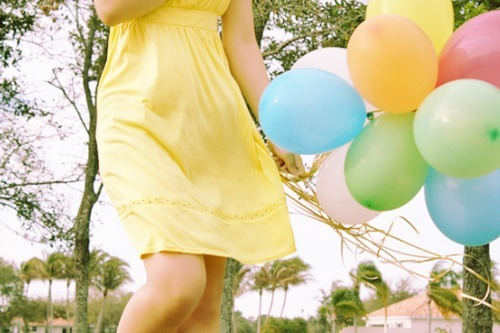 balloons, bright, colorful, colors, cute, dress, fashion, girl, happy, photography, pretty