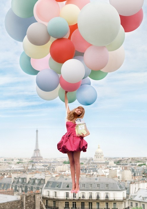 balloons, dior, dress, eau de toilette, eiffel tower